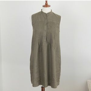 DKNY Olive Army Green Sleeveless Linen Shift Dress